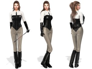 3D female horse riding outfit model