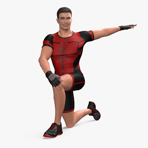 3D athletic man doing lunge