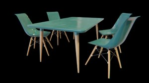 3D table chairs