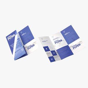3D a4 c fold flyer