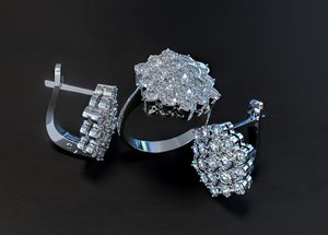 jewellery set diamond ring 3D model