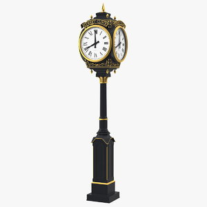 city street clock black model