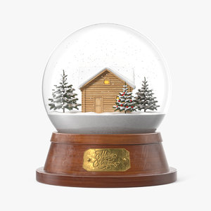 3D christmas snowglobe house snowing