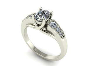 3D oval engagement ring
