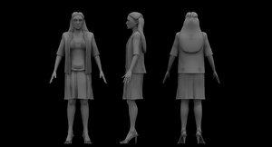 3D coat shot girl model