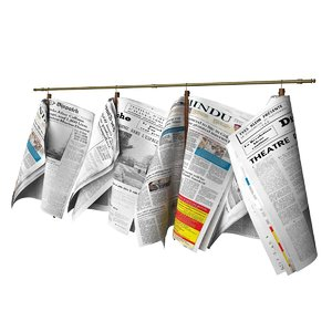 3D newspapers hanging rail