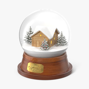 3D christmas snowglobe house snow model