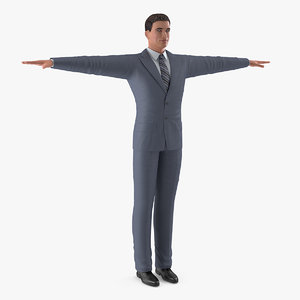 3D man business suit t-pose