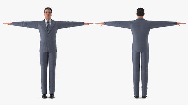 3D man business suit t-pose - TurboSquid 1518255