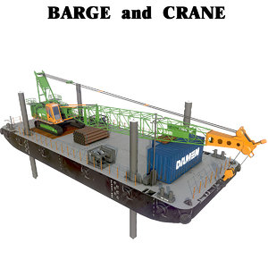 barge crane jack-up stan 3D model