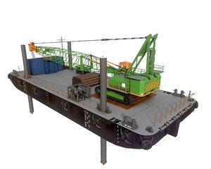 barge crane jack-up stan 3D model