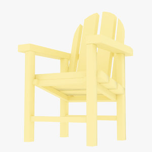 3D beach plastic chair model