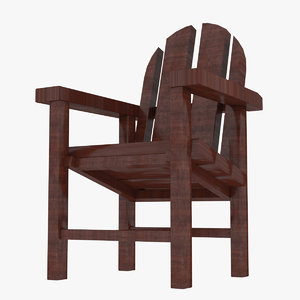 3D beach wooden chair