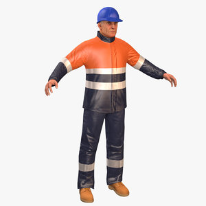 3D model safety worker j