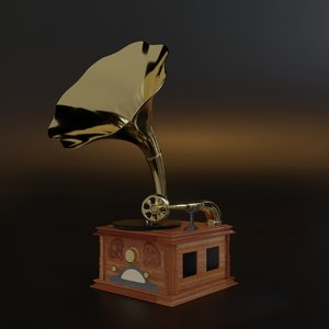antique gramophone old-fashioned subdivision 3D model