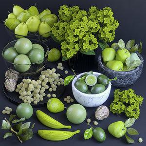 3D fruits green