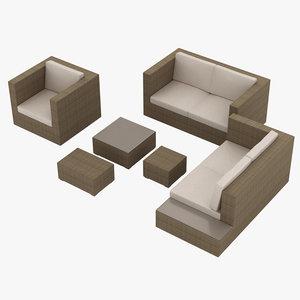 garden furniture set 001 3D