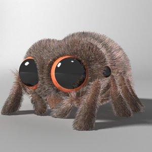 cute cartoon spider rigged 3D model
