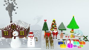 voxel christmas new year 3D model