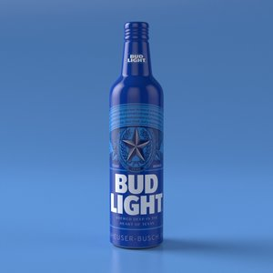3D model budweiser light aluminum bottle