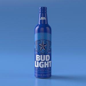 3D model budweiser light aluminum bottle