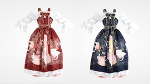 3D model marvelous lolita dress red blue