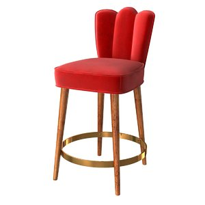 3D bar chair custom red velvet model