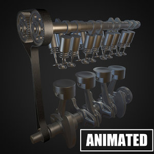 3D crankshaft piston engine model
