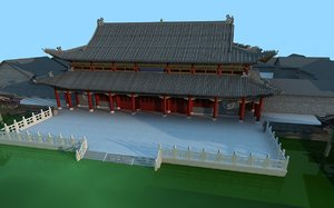 3D chinese ancient courtyard house model