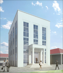3D model small office building neoclassical