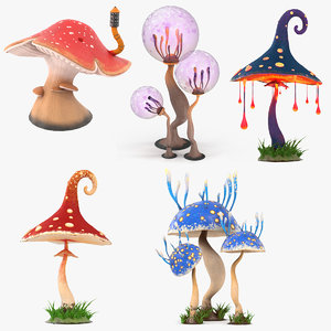 mushrooms cartoon pbr 3D model