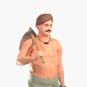 3D person tukaram farmer
