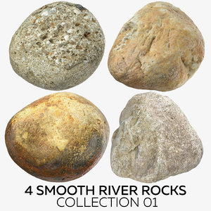 3D 4 smooth river rocks