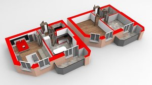 3D section apartment house model
