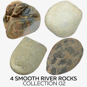 4 smooth river rocks model