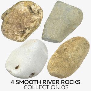 4 smooth river rocks 3D model