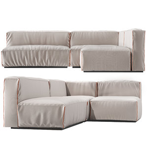 cleon modern medium sectional sofa 3D model