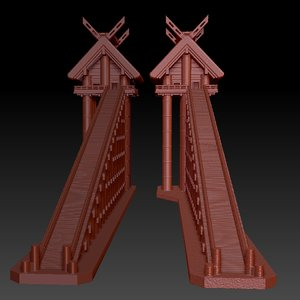 japanese shrine ancient printing 3D