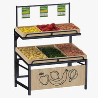 Wooden Display Rack 06 With Fruits and Vegetables