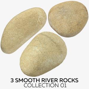 3D 3 smooth river rocks