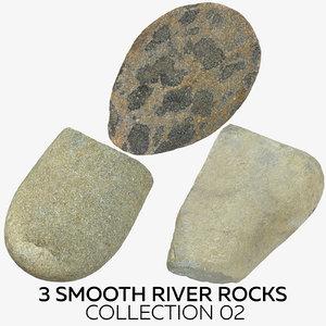 3 smooth river rocks 3D