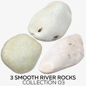 3D 3 smooth river rocks model