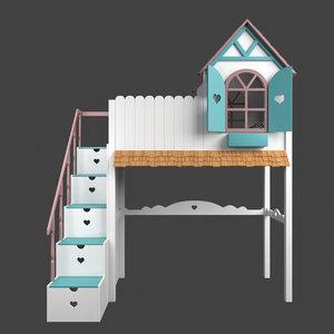 3D baby loft bed krovatki-detyam model