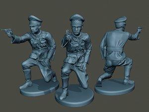 german officer ww2 shoot 3D