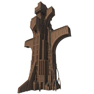 3D giant tower church 01 model