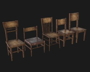 3D old wooden chair