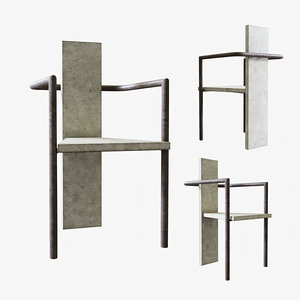 jonas bohlin concrete chair 3D model