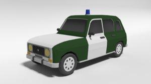 retro police car 3D