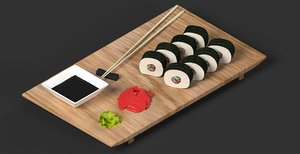 3D sushi board rolls