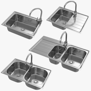 realistic kitchen sink 3D model